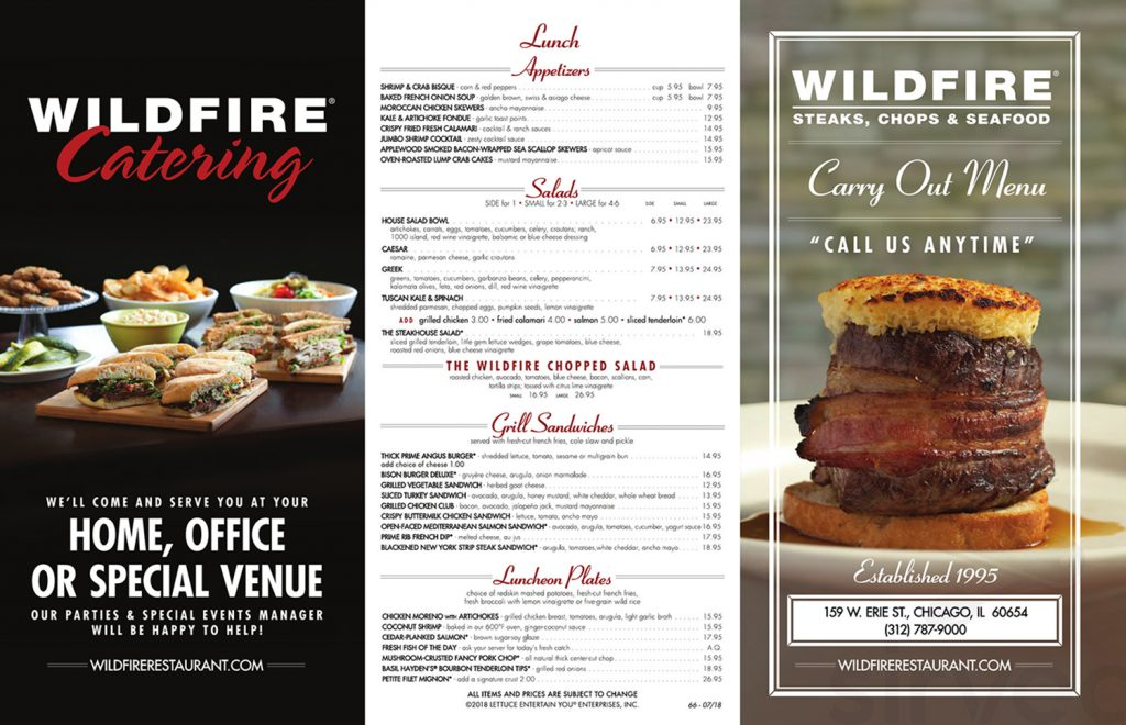 Menu for Wildfire in Chicago, Illinois